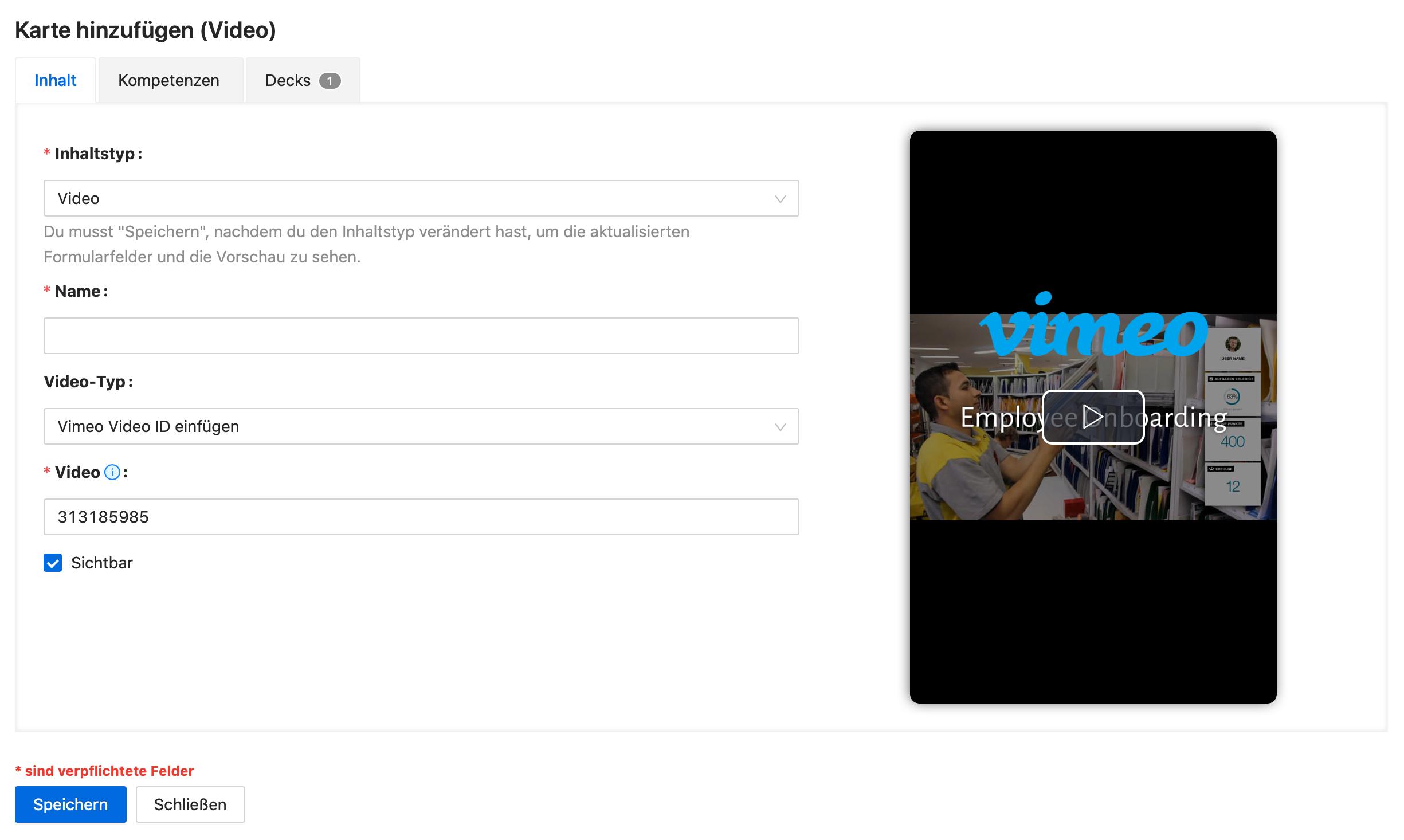 Ansicht des Editors mit einer Vorschau des Vimeo Videos.