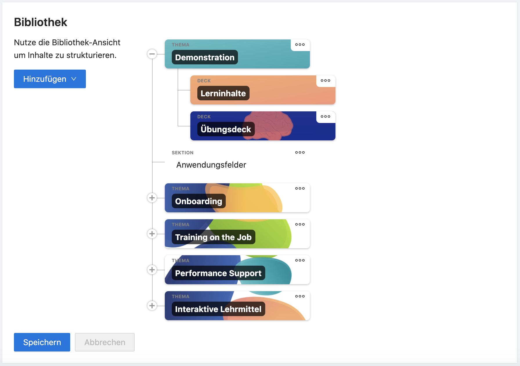 Darstellung der Bibliothek im Admin-Dashboard.